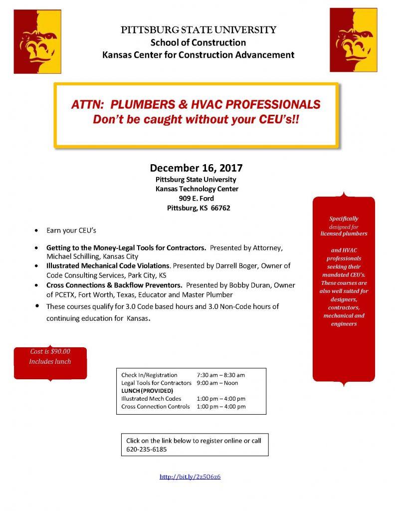 Plumbing and Mechanical CEU Course Pittsburg, KS