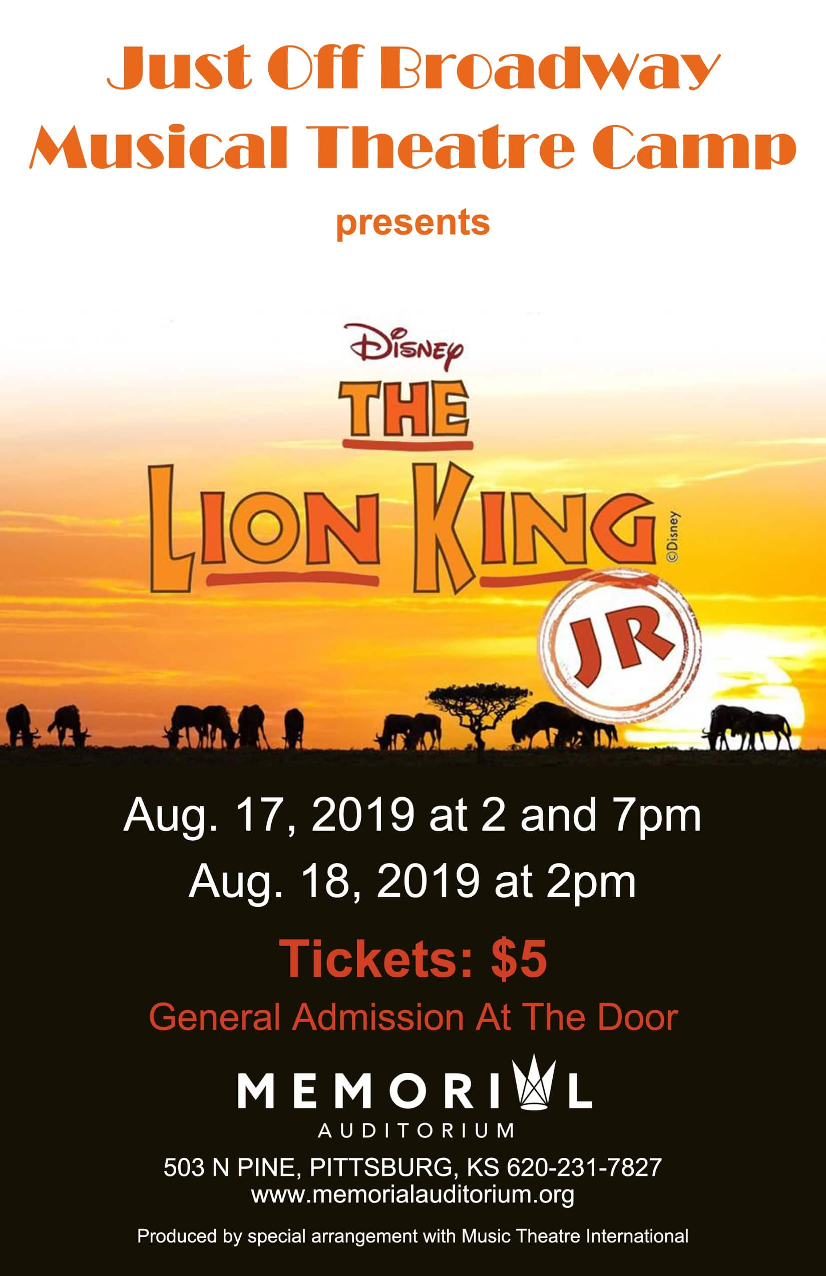"Just Off Broadway Camp presents: ""The Lion King Jr."""
